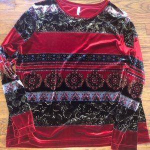 White Stag Velour Long Sleeve Floral Top Red Large